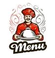 Restaurant menu logo cafe diner or chef vector image