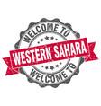 western sahara round ribbon seal vector image