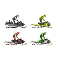 Set of snowmobiles Transport for extreme vector image