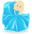 blonde girl in blue evening dress vector image vector image