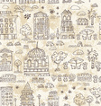 seamless background of city doodle grunge vector image vector image