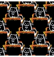 Seamless pattern of cat sitting on a bench on a vector image