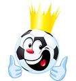funny soccer ball with royal crown and thumb up vector image