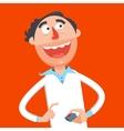 Happy scientist press red button cartoon vector image