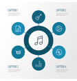 multimedia outline icons set collection of vector image