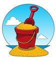 toy bucket with sand and rake color of a summer vector image