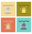 assembly flat icons nature flood house vector image