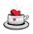 sketch drawing heart in coffee cup vector image