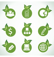 Business icons and design with green leaf vector image