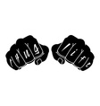 Black color arms with Thug Life tattoo on fingers vector image
