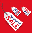 Memorial Day sale tags vector image vector image