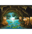 Three bears living in the cave vector image