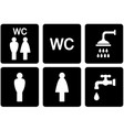 set of WC signs with shower and tap vector image