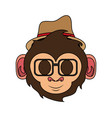 happy cute expressive hipster monkey cartoon icon vector image