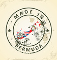 Stamp with map flag of Bermuda vector image