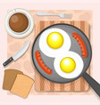 scrambled eggs with sausages vector image