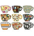 Collection of tea cups with different patterns vector image