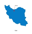 Detailed map of Iran and capital city Tehran vector image