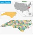 North Carolina map vector image