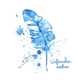 Isolated blue watercolor feather vector image
