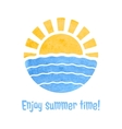 Summer time icon with sun and sea vector image vector image