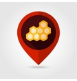 Honeycomb bee flat mapping pin icon vector image