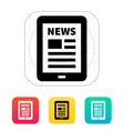 Tablet PC newspaper icon vector image