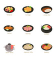 traditional food icons set cartoon style vector image