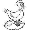 farm hen cartoon for coloring book vector image