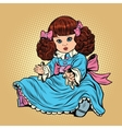 Beautiful retro girl doll vector image