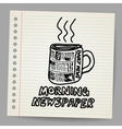 Doodle style newspaper coffee cup vector image
