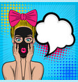 pop art girl cosmetic black mask wow face vector image vector image