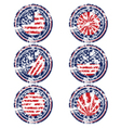 Rubber stamps with usa flag vector image vector image