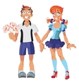Boy and girl hold on their hands vector image