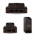 A set of furniture sofa wardrobearmchair vector image