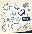 arrows signs and sketched elements set vector image