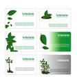 green leaves botanical business card set vector image