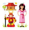 japan samurai flat style colorful cartoon vector image
