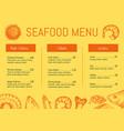 seafood restaurant menu brochure template vector image