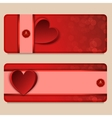 Set of two vertical banners with hearts vector image