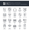 Thin lines icons of Dj staff and any equipment set vector image