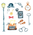 Watercolor retro detective accessories vector image