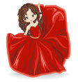 brunette girl in red evening dress vector image vector image