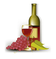Wine and grapes vector image vector image