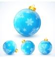Set of blue Christmas balls vector image