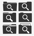 documents folder icon set with magnifying glass vector image