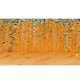 falling blue confetti in wooden room vector image vector image