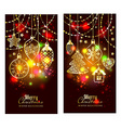 Christmass toys on dark background Holiday banners vector image