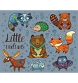Little indians Woodland tribal animals set vector image vector image