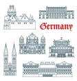 German architectural landmarks icon in thin lines vector image